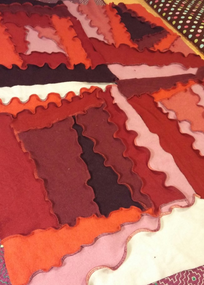 """The start of an """"up-cycled"""" RE-created blanket."""